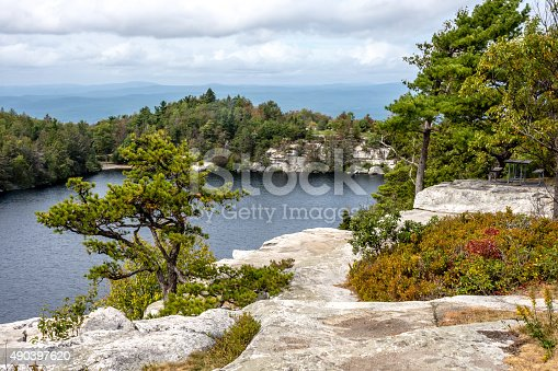 A scenic view of Lake Minnewaska in Ulster County New York.