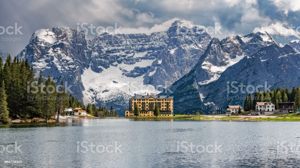 Lake Misurina in the Dolomites, South Tirol royalty-free stock photo