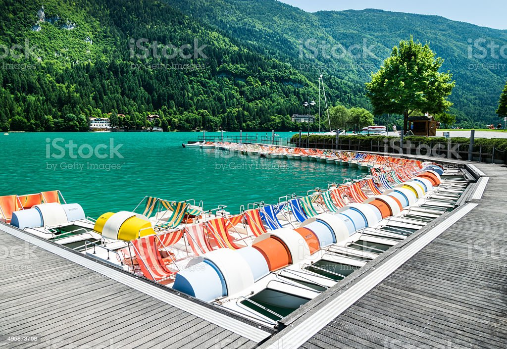 Lake Molveno, elected most beautiful lake in Italy. stock photo
