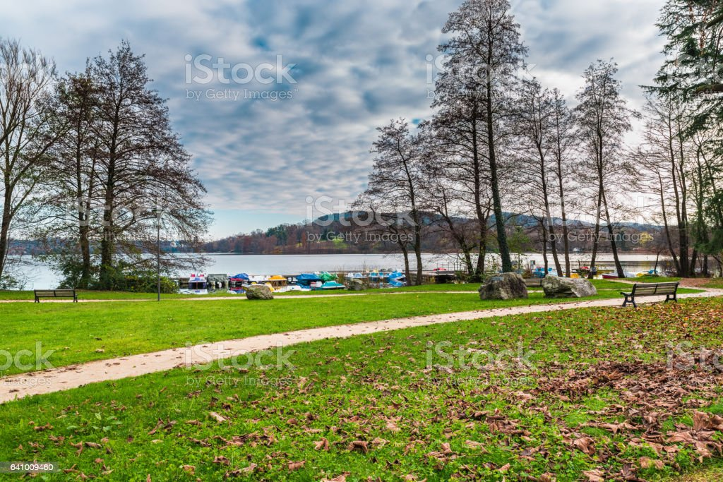Lake Monate from the small village of Cadrezzate, province of Varese,  Italy. Public park with recreational facilities stock photo