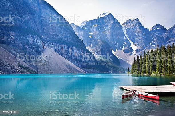 Photo of Lake Moraine and Canoe Dock in Banff National Park