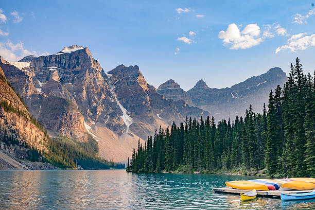 lake  moraine, banff national park, alberta, canada - banff national park stock photos and pictures