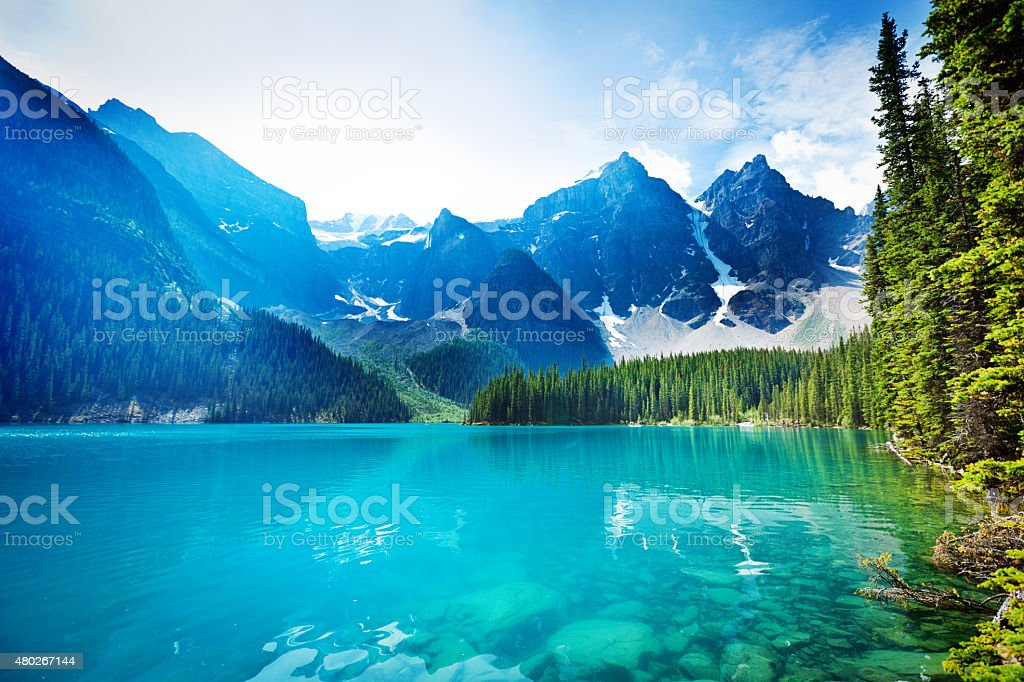 Lake Moraine, Banff National Park Emerald Water Landscape, Alberta, Canada stock photo