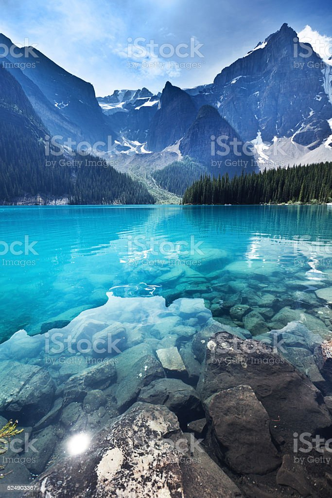 Lake Moraine, Banff National Park Emerald Water Landscape, Alberta, Canada royalty-free stock photo
