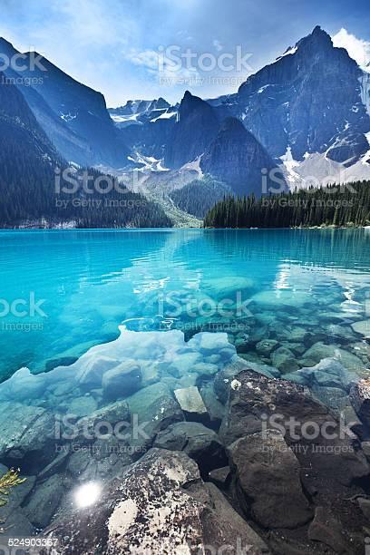 Photo of Lake Moraine, Banff National Park Emerald Water Landscape, Alberta, Canada