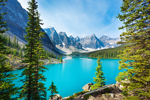 Lake Moraine In Banff National Park Alberta Canada Stock Photo - Download Image Now