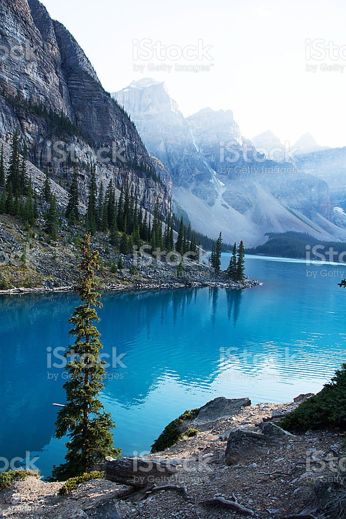 Lake Moraine in the Rocky Mountains royalty-free stock photo