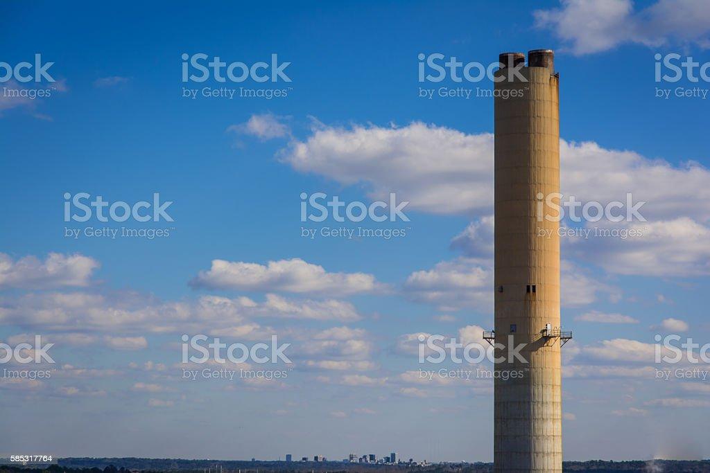 Lake Murray Energy Plant Smoke Stack South Carolina USA stock photo