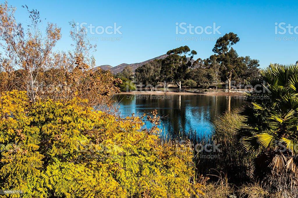 Lake Murray in Fall Season in San Diego stock photo