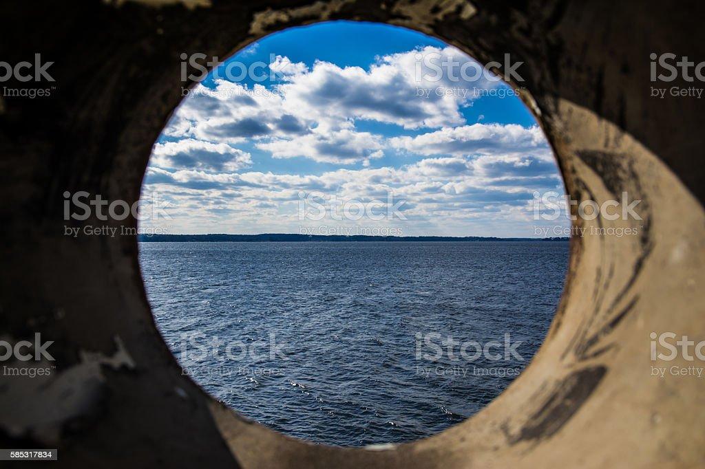 Lake Murray South Carolina USA Landscape Through Pipe Perspective stock photo