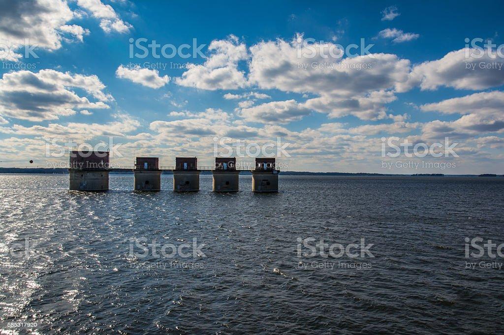Lake Murray Water Towers Electricity South Carolina USA stock photo