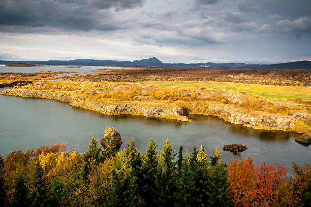 Lake Myvatn in Fall stock photo