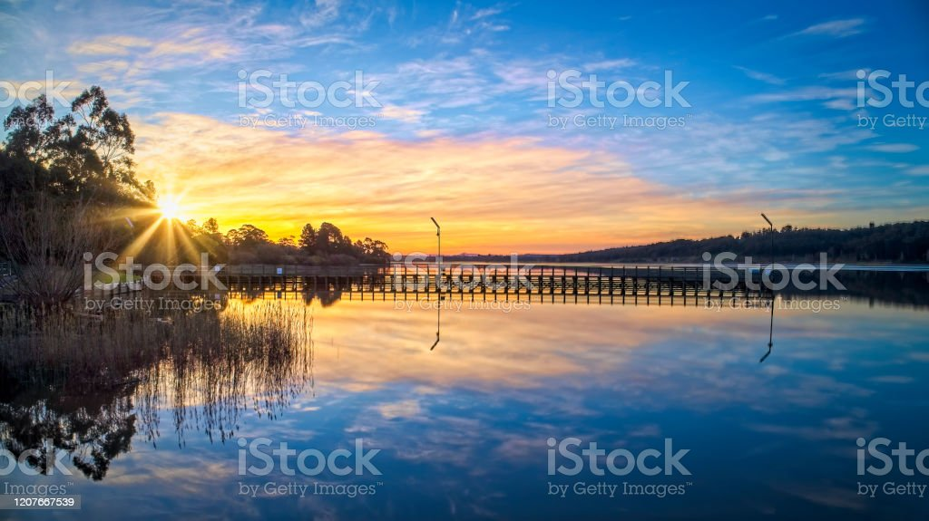 Lake Narracan Sunset - Royalty-free Aerial View Stock Photo