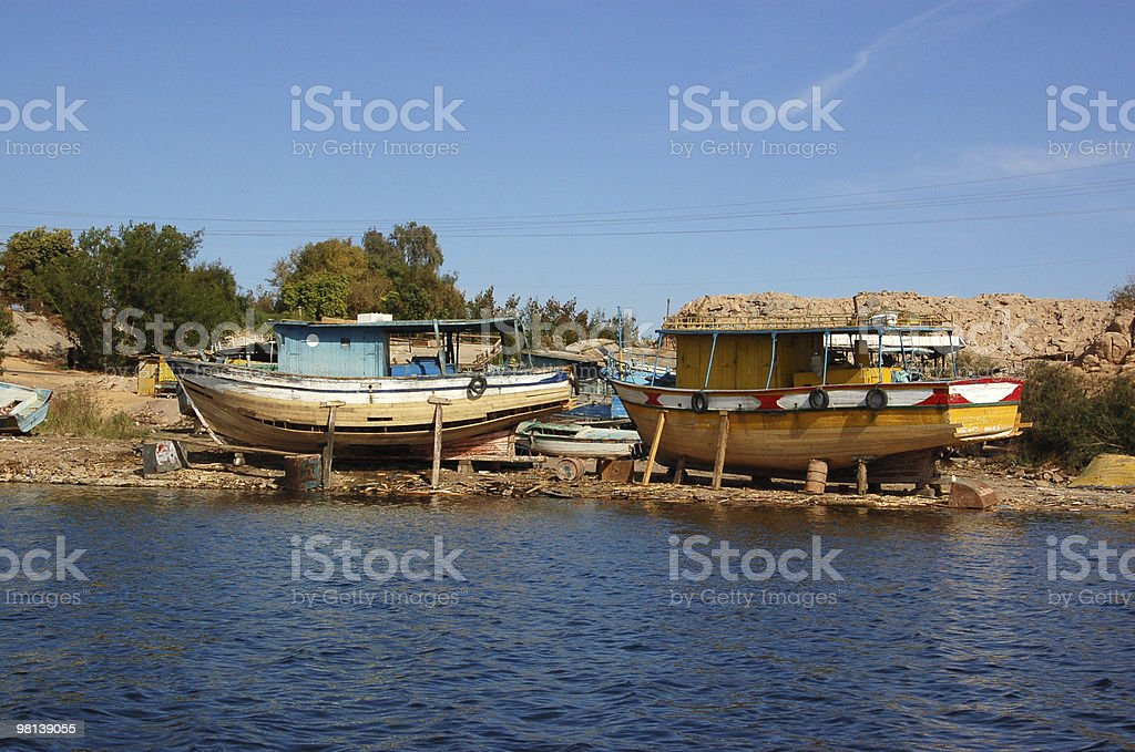 Lake Nasser boatyard royalty-free stock photo