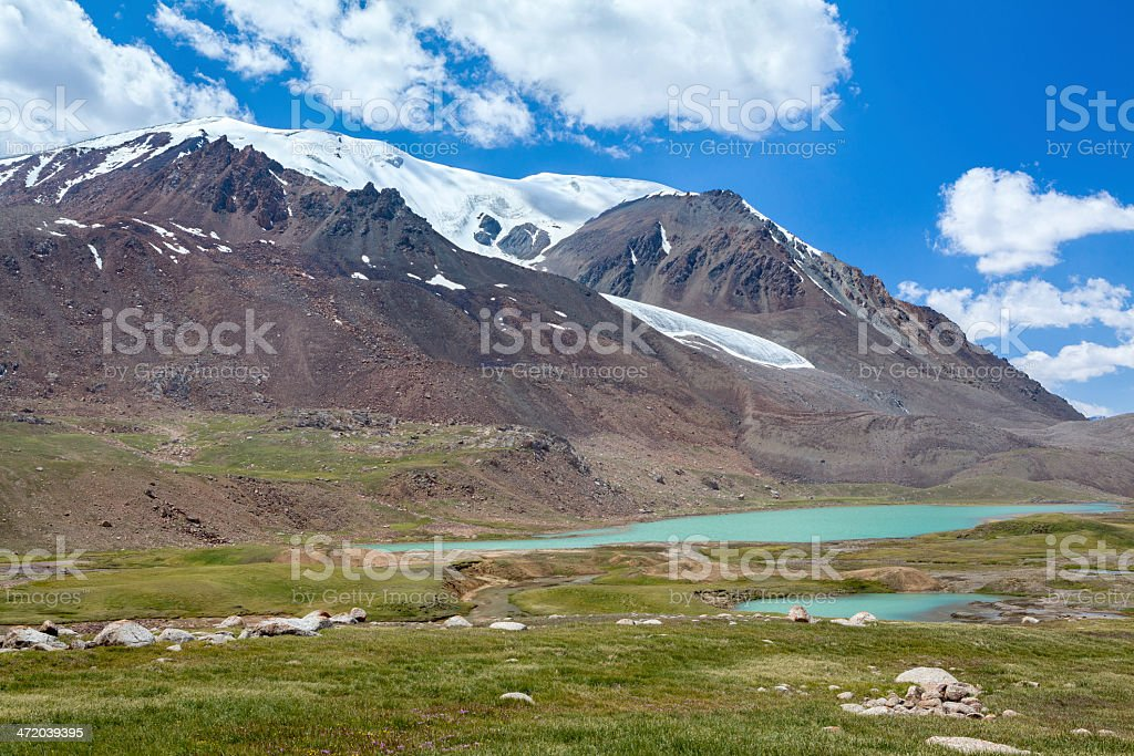 Lake near Barskoon pass in Tien Shan mountains stock photo