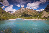 Lake near Bonneval sur arch ecot and Alpine landscape – French alps