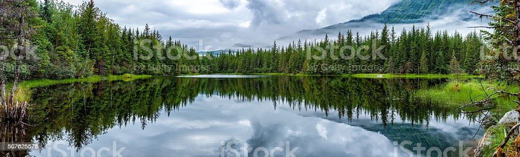 Lake near Mendhenall Glacier huge landscape stock photo