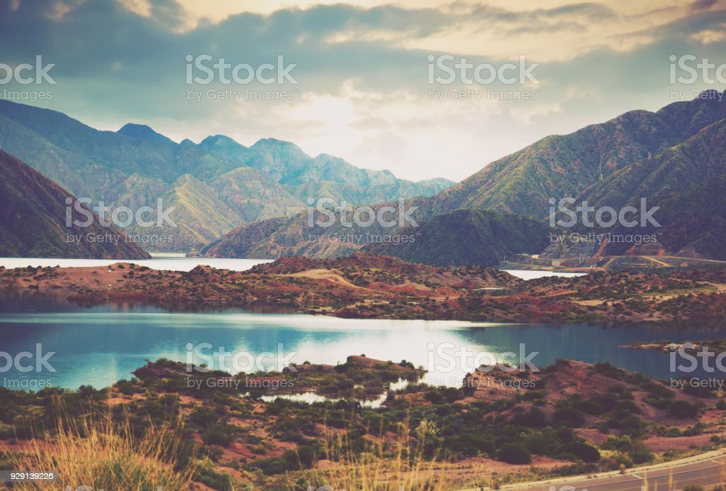 Lake near Potrerillos, RN 7, Andes, Argentina stock photo