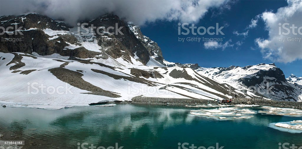 Lake near the refuge Lo Riondè, Aosta Valley royalty-free stock photo