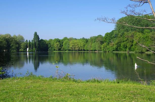 Lake near Viarmes in France, Europe Lake near Viarmes, a village near the city of Paris in France, Europe val d'oise stock pictures, royalty-free photos & images