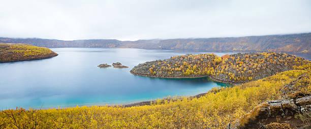 Lake Nemrut in caldera of volcano, Turkey stock photo