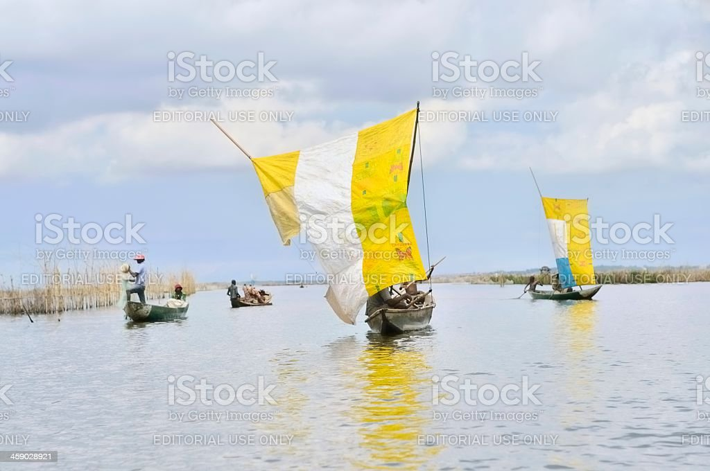 Lake Nokoue Fishing Skiffs Under Sail royalty-free stock photo