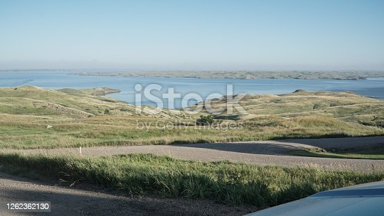 Landscape of Lake Oahe from the elevated land.