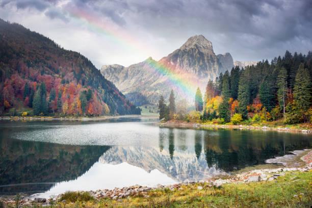 Lake Obersee autumn morning stock photo