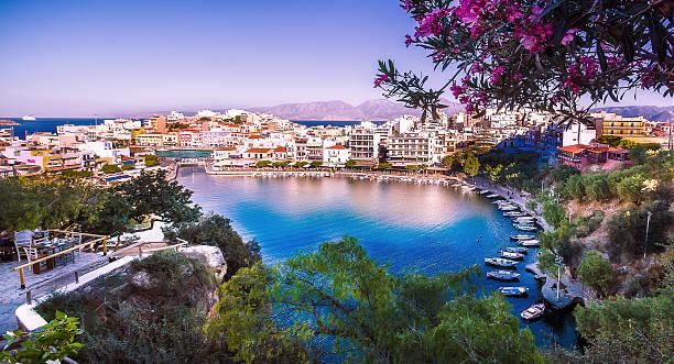 Lake of Agios Nikolaos Crete stock photo
