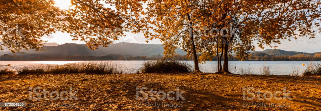 Lake of banyoles in Catalonia, Spain in the fall stock photo