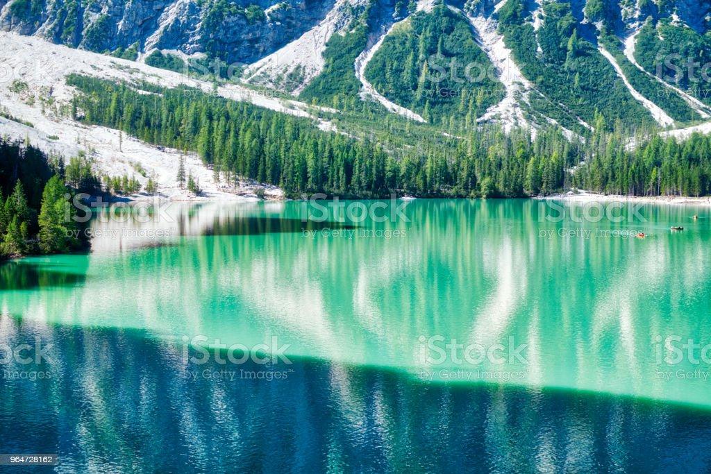 Lake of Braies, amazing colors landscape royalty-free stock photo