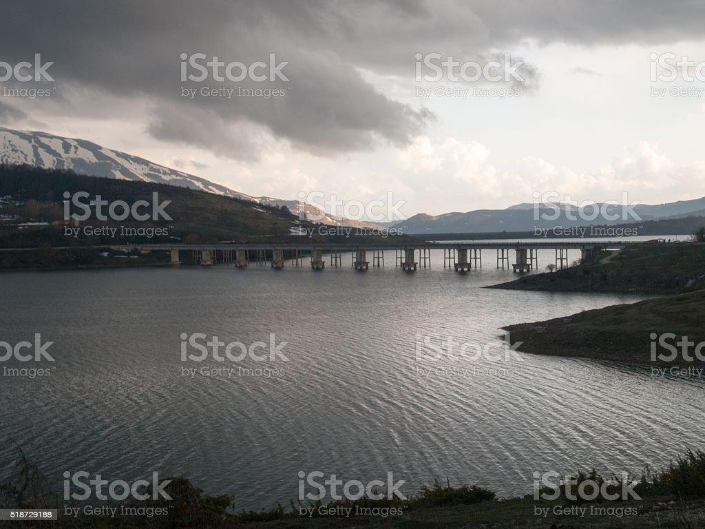 Lake of Campotosto stock photo