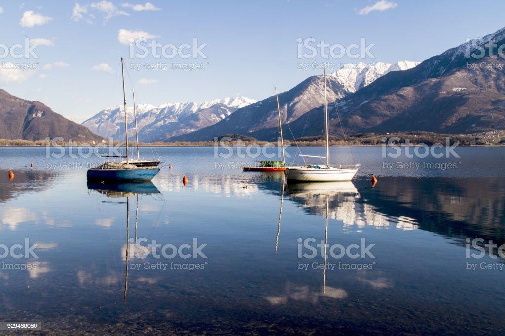 lake of como in winter stock photo