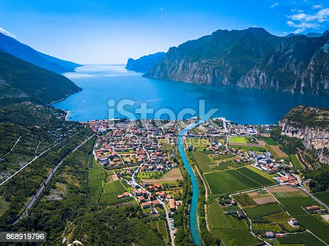 Lake of Garda aerial view in Italy