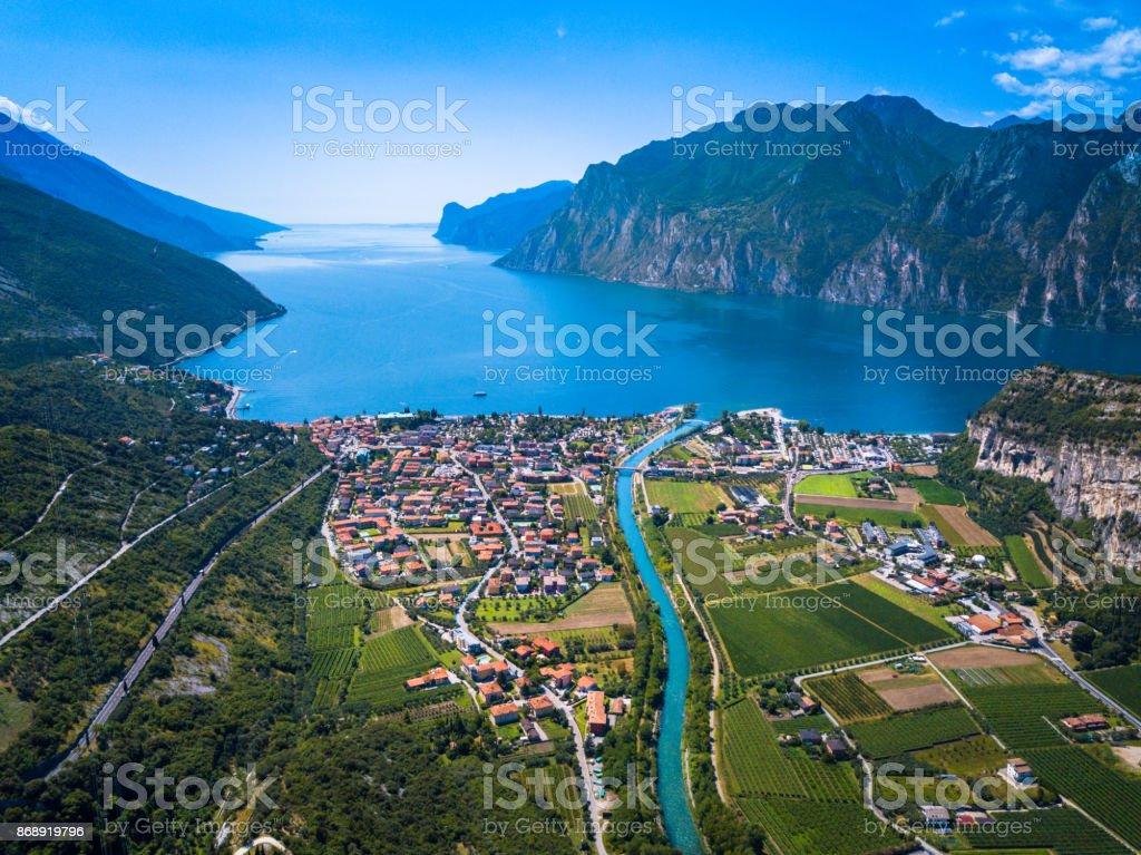 Lake of Garda Panorama, Trentino, Italy stock photo