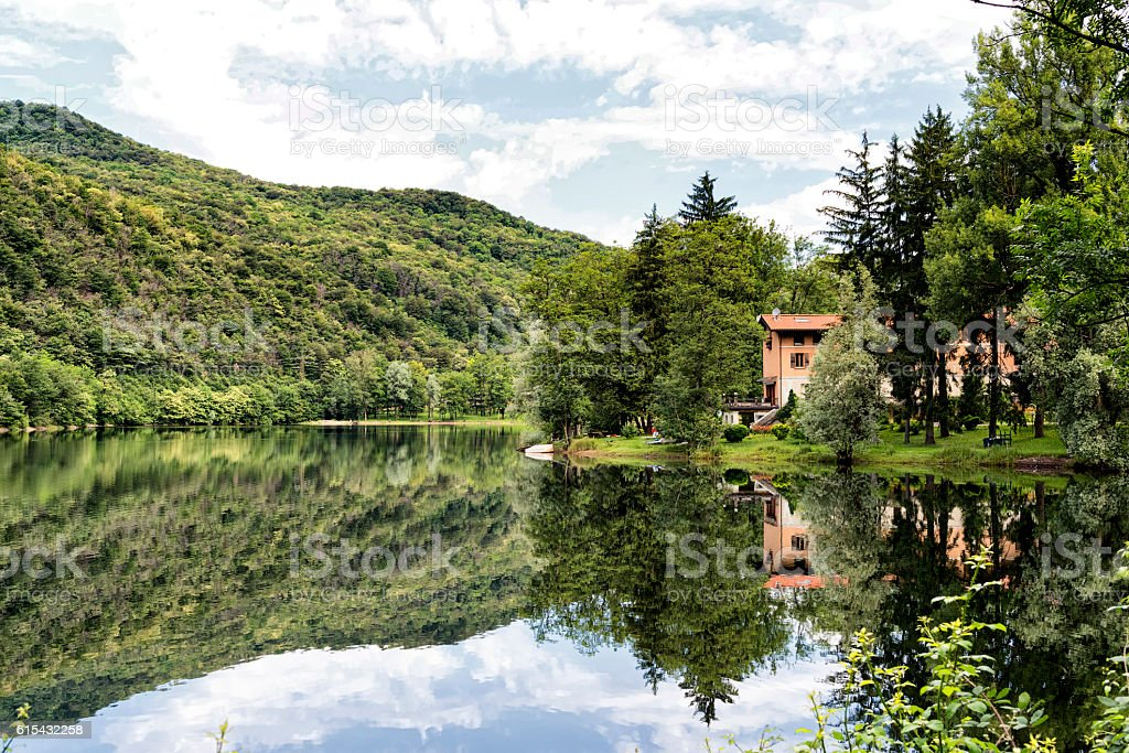 Lake of Ghirla (Varese, Italy) stock photo
