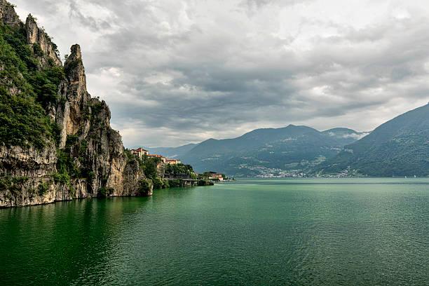 Lake of Iseo near Lovere (Italy) - foto de acervo