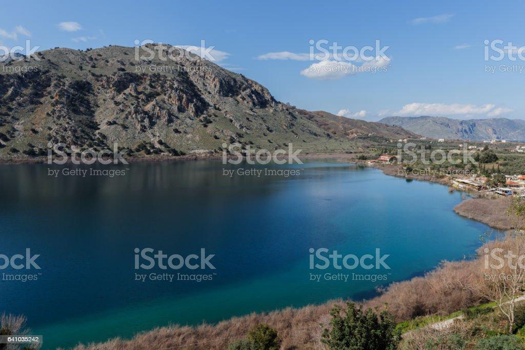 Lake of Kournas stock photo