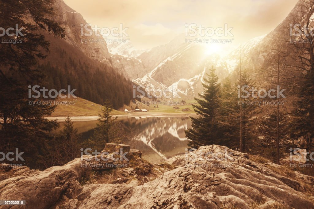 lake of seealpsee in Switzerland at sunset time stock photo