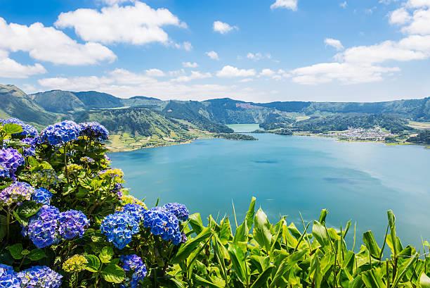 Lake of Sete Cidades mit hortensia's, Azoren), Portugal – Europa – Foto