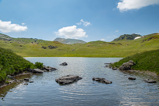 Shutman Lake (Albanian: Liqeni i Shutmanit; Serbian: Шутманско језеро, Šutmansko jezero) is one of the largest mountain lakes in the Sharr Mountains in Kosovo.[a] It is located in southern Kosovo, in the municipality of Dragaš. It lies on an elevation of 2,070 m (6,791 ft) above sea level. The lake has a maximum length of 160 m (525 ft) and a maximum width of 100 m (328 ft). It is 1.10 m (3.6 ft) deep