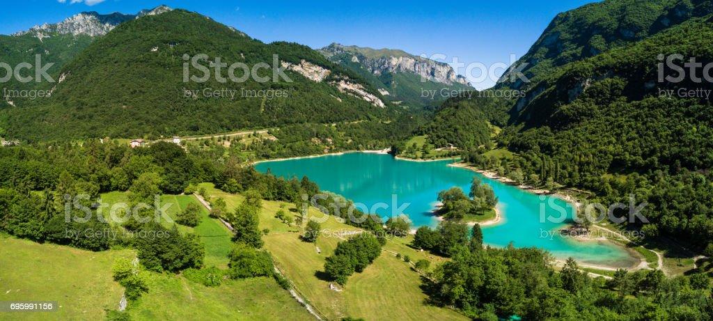 Lake of Tenno, Trentino, Italy stock photo