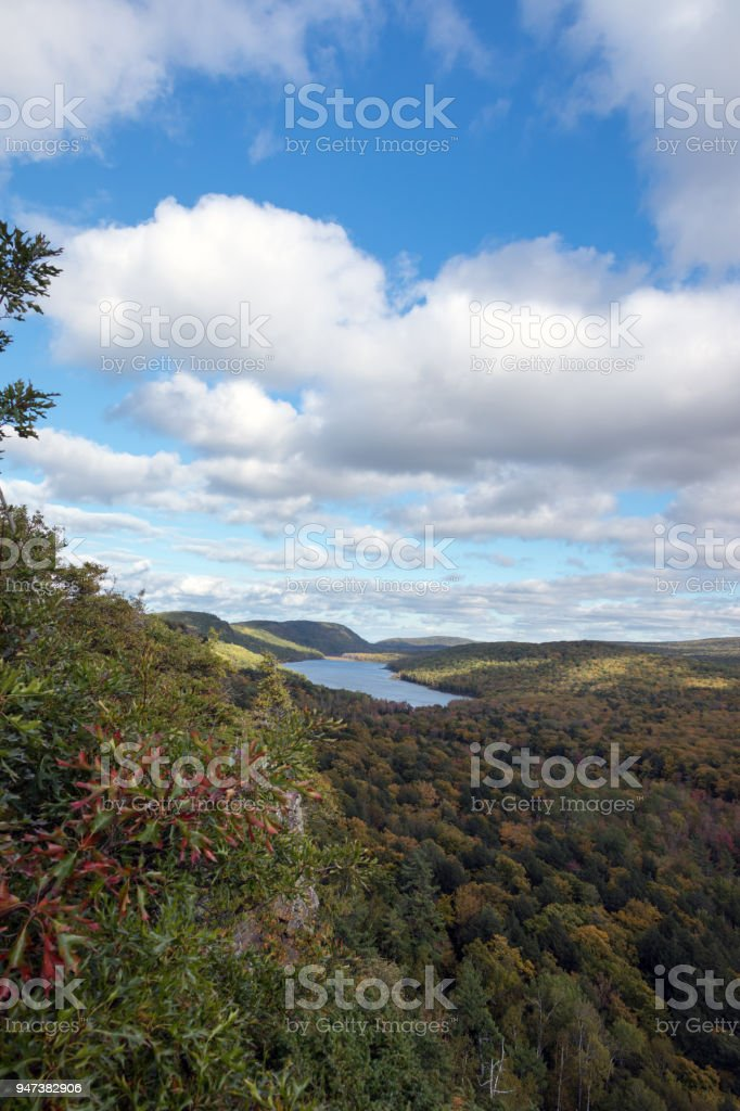 Lake of the Clouds with a dramatic sky, Michigan's Porcupine Mountains, USA stock photo