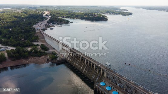 Aerial photo of Bagnell Dam, built in 1929 to create the Lake of the Ozarks in Missouri.