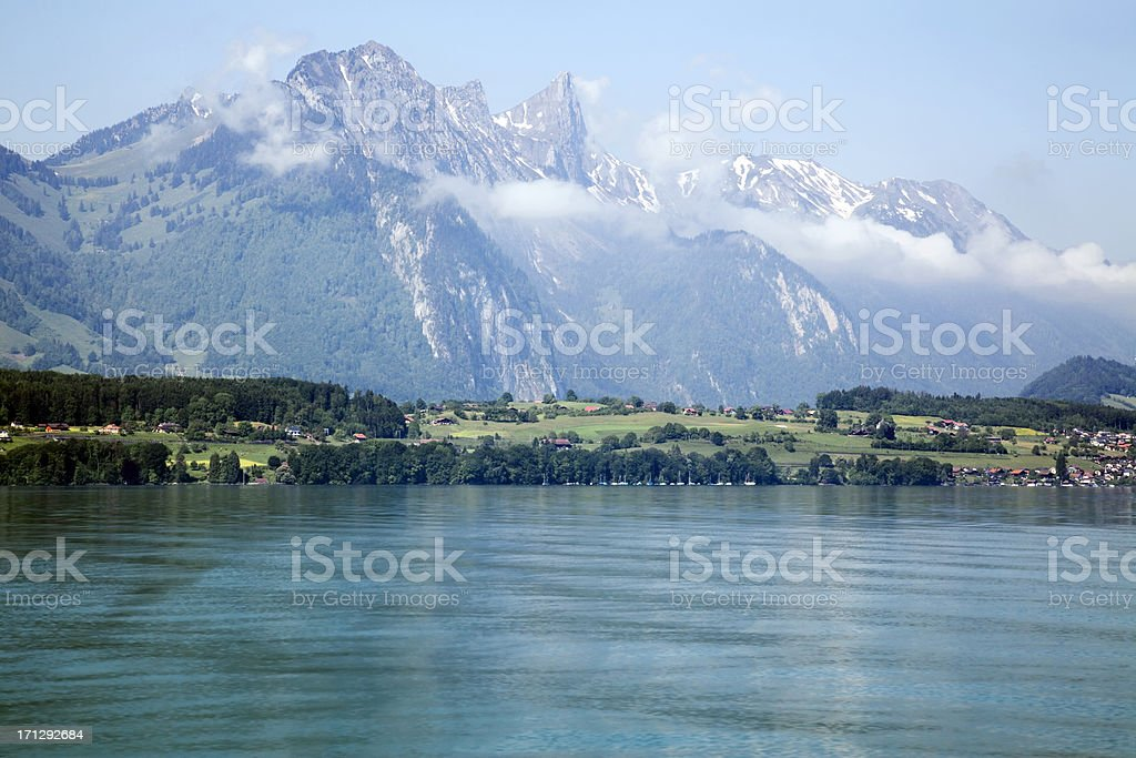 Lake of Thun and The Swiss Alps royalty-free stock photo