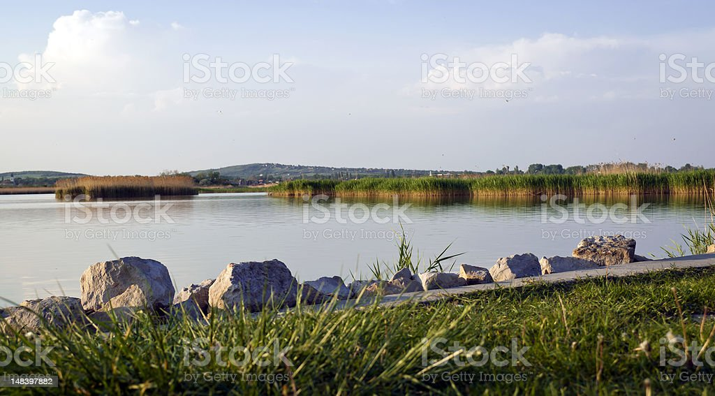 Lake of Velence in the afternoon stock photo