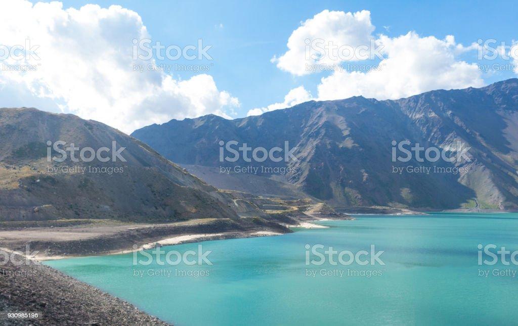 Lake of Yeso. Cajon del Maipo. Santiago of Chile stock photo