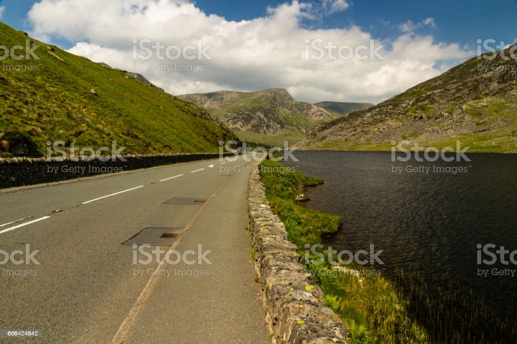 Lake Ogwen and the A5 road stock photo