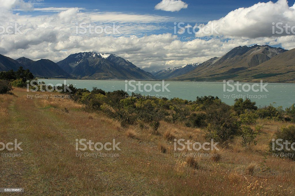 Lake Ohau in Mount Cook National Park stock photo