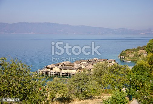 The Bay of the Bones, the reconstructed site of a prehistoric settlement at Lake Ohrid, Republic of Macedonia (FYROM)